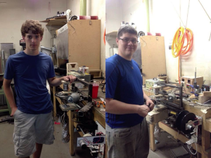 Kyle (left) and Mitch (right) in front of their filament extruder