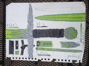 Nyika's original drawing in her notebook, which served as the inspiration for her new sword